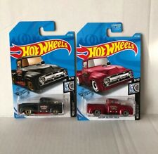 2019 Hot Wheels Custom 1956 Ford Truck Black And Red (Q Case Variation) Lot Of 2
