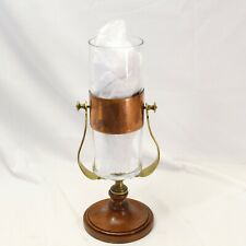 Hurricane Candle Lamp Italy Brass Wood Glass 15"