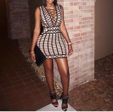 New Women  Sleeveless Lace UP Plaid Sexy Hollow Party Wear Short Mini Dress  #S