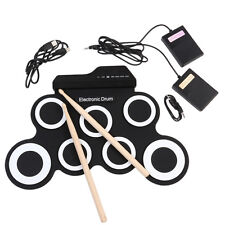 Electronic Drum Kit - Portable Tabletop Drumming Machine Compact Roll-Up