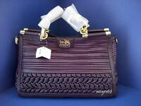 NWT Coach Madison Pleated Gathered Leather Caroline 19848 Gold Aubergine