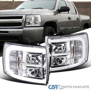 Fit Chevy 07-14 Silverado 1500 2500HD 3500HD LED Bar Clear Projector Headlights