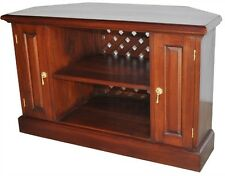 Solid Mahogany Traditional Style Corner TV Unit 2 Panelled Doors NEW CBN002