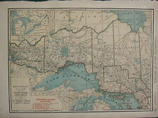 1922 LARGE AMERICA MAP ~ NORTHERN ONTARIO RAILROADS SUDBURY ALGOMA  RAND MCNALLY