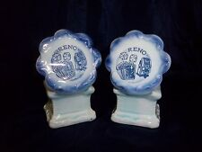 Vintage RENO MEGAPHONE SALT PEPPER SHAKER SET Nevada ceramic pale blue