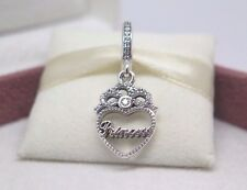 New w/Box Pandora sterling silver cz Princess Crown Heart Dangle Charm #791962CZ