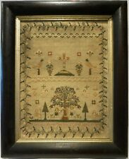 More details for early/mid 19th century adam & eve, motif & verse sampler by mary bj huish - 1842