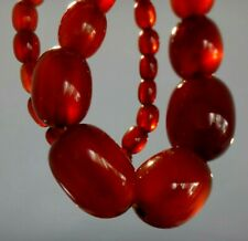 Collier ambre cerise bakelite Necklace cherry amber olive catalin faturan 64gr