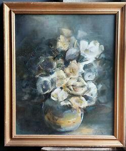 TABLEAU signé D.ROLLET Peinture huile toile HST nature morte bouquet fleurs vase