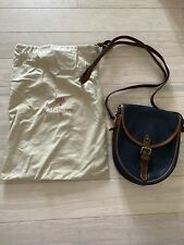 Genuine Vintage Mulberry Handbag Bag Satchel Saddle Bag Leather Navy Brown