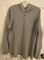 Nike Center Swoosh Lightweight Hoody - Mens XL Pull Over Gray Tag Sweatshirt