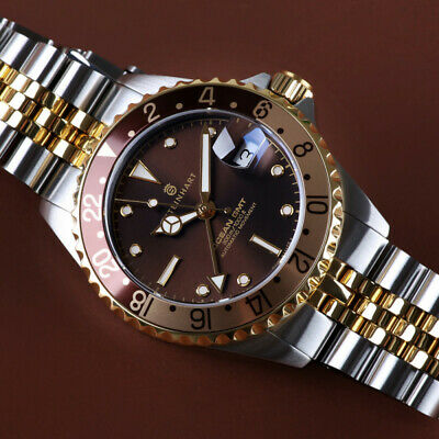 Steinhart Ocean 39 mm Two Tone Cholate Automatic Swiss Diver Watch 103-1218 Gold