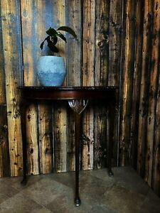 Vintage Antique wooden Half Round Leather inlay Table