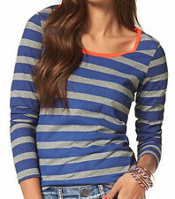 Cotton Blend Long Sleeve Loose Fit Striped T-Shirts for Men