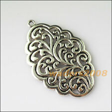 2 New Oval Flower Clouds Tibetan Silver Tone Charms Pendants 35x54mm