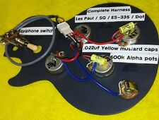 Wiring harness upgrade for LP/ES-335/SG/Dot style imports - Yellow Mustard Caps!