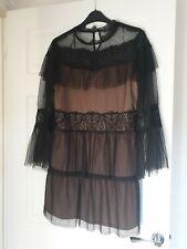 Zara Black Lace Tulle Dress Size S 10/12