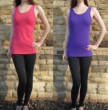 LONG LENGTH Ladies Fitted Cami Vest Top Size UK 8 10 12 14 16 S M L Pink Purple