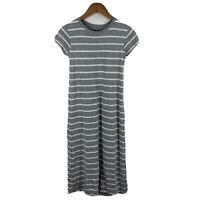 Uniqlo Womens Maxi Dress Sz Small Grey Striped Short Sleeve Built In Bra Padded