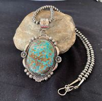 Mens Navajo Pearls Sterling Silver Blue Turquoise #8 Necklace Pendant Set 526