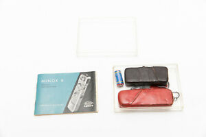 Vintage Minox B Camera w/ Rare Red Case Measuring Chain Flash & Case