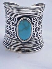 SOLID STERLING SILVER &TURQUOISE WIDE BAND UNISEX ADUSTABLE RING 25mm.£29.95 NWT