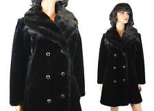 Faux Seal Fur Trench Coat M Vintage Long Black Winter Jacket Dark Brown Collar