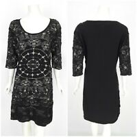 Womens Desigual by Christian Lacroix Dress Black Short Sleeve Bodycon Size XL