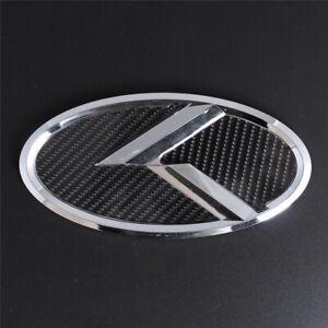 Carbon Fiber Chrome K Logo 150mm Trunk Emblem Decal For Kia Sedona Soul