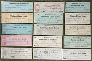 (15) Vintage Checks. National Iron Bank Morristown, NJ Assorted Styles & Colors.