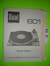 Dual 601 service manual original repair book stereo turntable record player