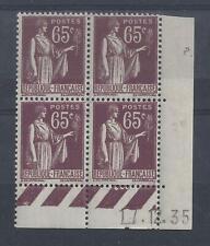 PAIX N° 284 - Bloc de 4 COIN DATE - NEUF SANS CHARNIERE - 17/12/35