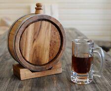 █ 1 Liter Oak Barrel - JAR OAK , Wine Bottle , Whiskey Flask (0.26 gal) w/ Stand