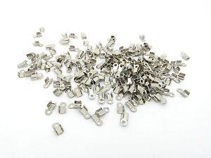 100 Cord Ends Folding Necklace End Crimps Antique Silver Tone 6mm x 3mm  J01871J