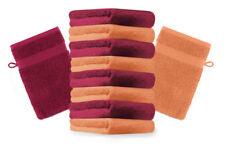 """10er Pack Waschhandschuhe """"Premium"""" Farbe: Orange & Dunkelrot, Größe: 17x21 cm"""