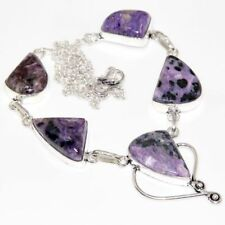 "Handmade Purple Lepidolite Gemstone 925 Sterling Silver 18"" Necklace #N01609"