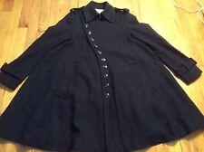 Women's navy blue Ochirly A-line wool blend swing coat size XS-S
