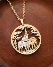 "Elephant Pendant and Necklace, Hand Cut Coin, 1 1/4"" in Dia. ( # 862 )"
