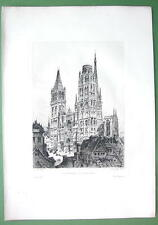 ORIGINAL ETCHING Print - ROUEN View of the Cathedral France