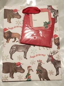 "NWT Punch Studio 20189 Jungle All The Way Christmas Gift Bag 8.5""x6"""