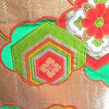 UNUSED Silk Rokutsuu Fukuro-obi Geometric Floral Gold Red Green Metallic Shiny