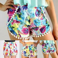BOHO Women Summer High Waist Pom Pom Floral Beach Casual Shorts Hot Pants R4H5