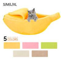 Pet Dog Cat Banana Shape Bed Soft Fleece Tent Kennel Warm Fluffy Home Sleeping