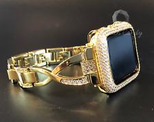 Apple Watch Band 42mm S 2/3 Gold Rhinestone Case Cover Bezel Lab Diamonds