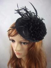 Black Cream Disc Sinamay Ruffle Fascinator - Ascot Wedding Races Hat