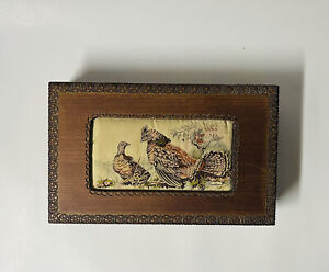 Dual Compartment Wood Box With Bird Tapestry Handcrafted J&J CASH LTD Poland