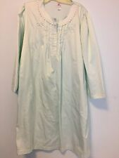 Miss Elaine Size XL Embroidered Nightgown Nightie Mint Green Pajamas