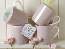Set of 4 KATIE ALICE Cottage Flower PINK SPOT Shabby Chic MUGS Vintage Inspired