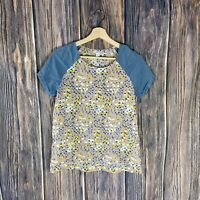 Fossil Blouse Top Women's XS 100% Silk Multicolor Geometric Spring Short Sleeve