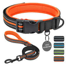 Reflective Dog Collar and Leash With Personalized ID Tags Adjustable Padded XS-L